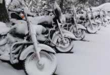Snow Covered Harley Davidsons