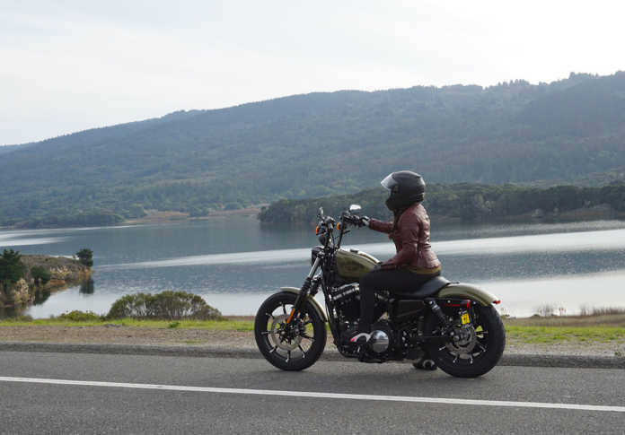 Harley Sportster riding the coast