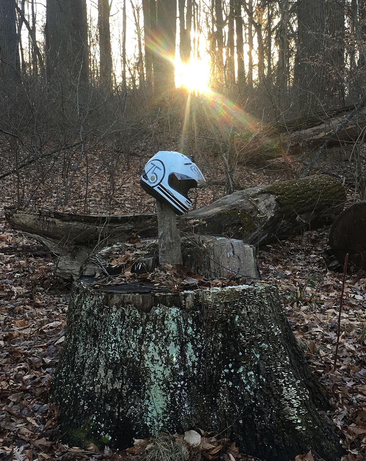 Arai Helmet in the woods