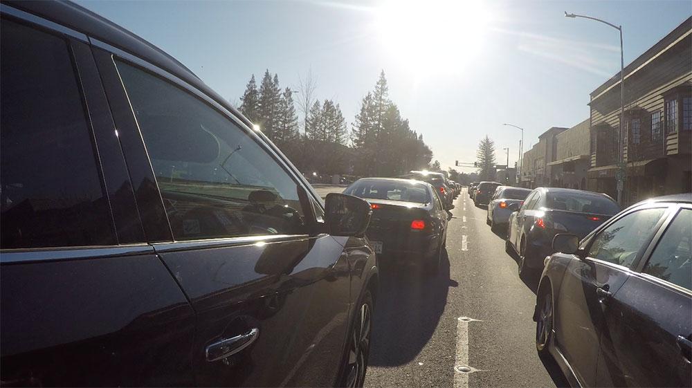 Motorcycle Commute in Traffic
